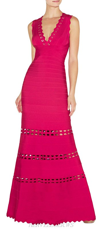 Herve Leger Pink Scalloped Cut Out Bandage Gown