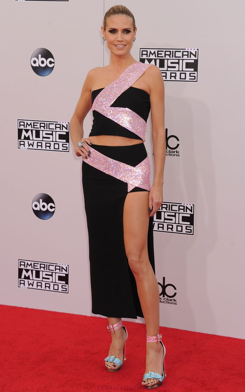 Herve Leger Black And Pink Sequin Asymmetrical Slit Gown