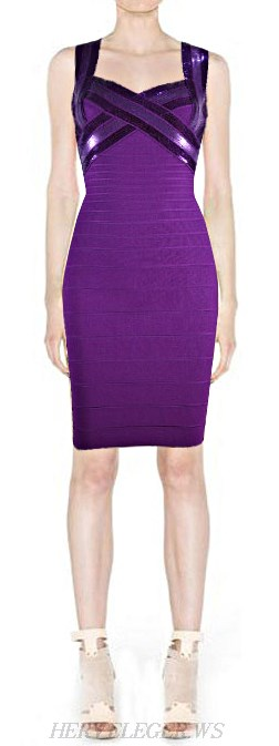 Herve Leger Purple Sequin Crisscross Bandage Dress