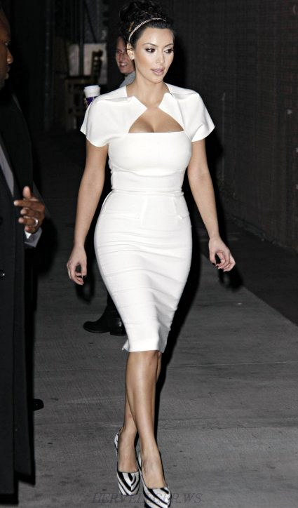 Herve Leger White Short Sleeve Asymmetrical Dress