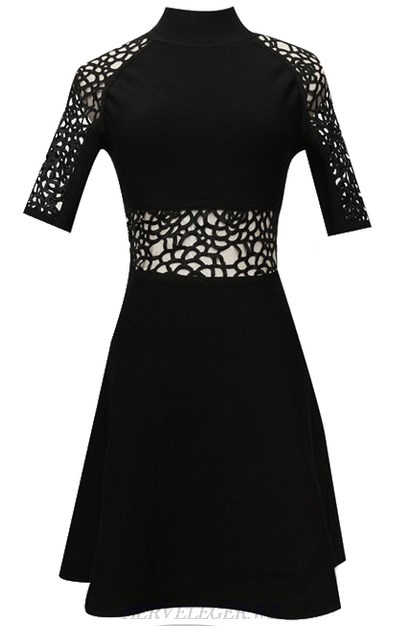 Herve Leger Black Short Sleeve Crochet A Line Dress