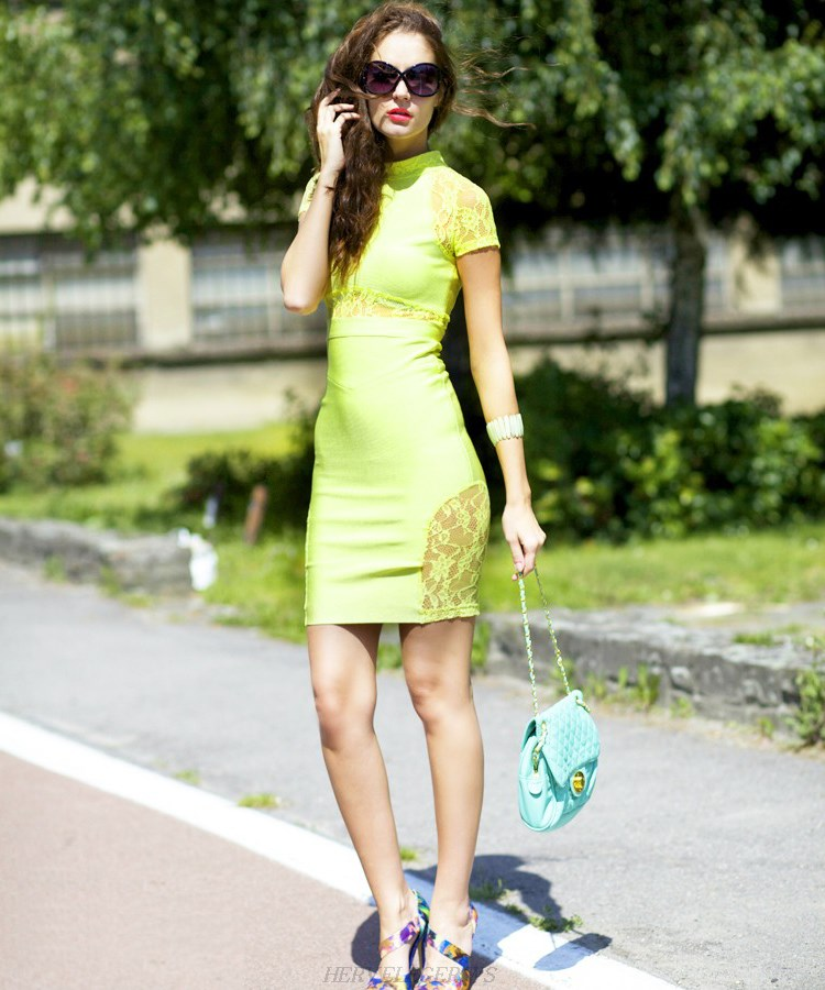 Herve Leger Lime Green Short Sleeve Lace Bandage Dress