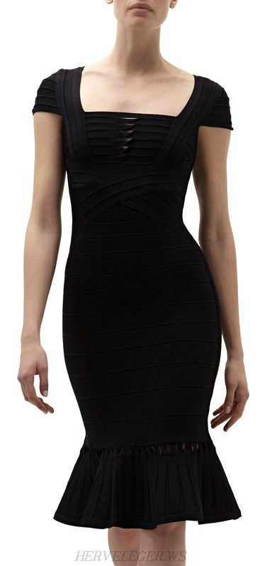 Herve Leger Black Short Sleeve Mermaid Bandage Dress