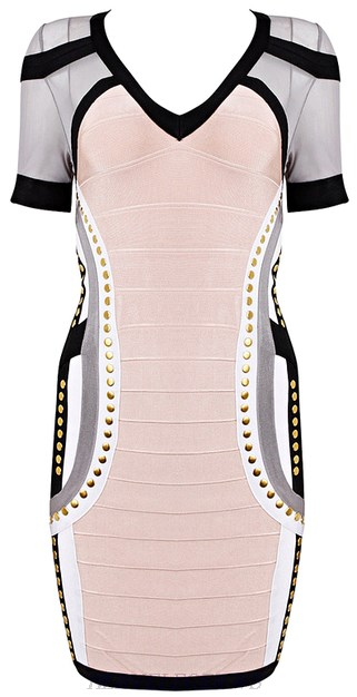 Herve Leger Pink Short Sleeve Mesh Studded Contrast Bandage Dress