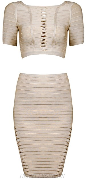 Herve Leger Nude Short Sleeve Twist Cutout Two Piece Bandage Dress