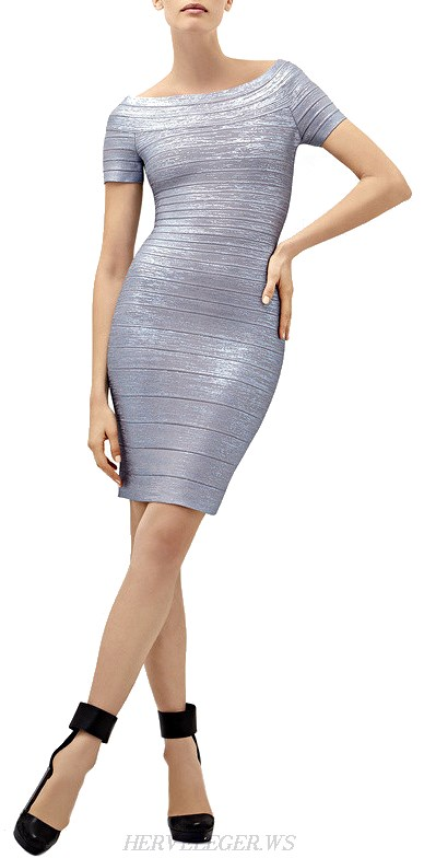 Herve Leger Silver Short Sleeve Woodgrain Foil Print Bandage Dress