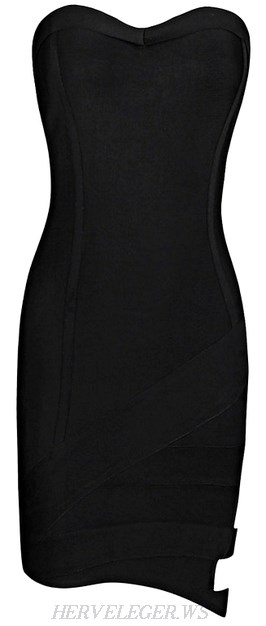 Herve Leger Black Side Cutout Bandeau Bandage Dress