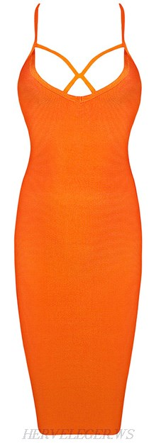 Herve Leger Orange Spaghetti Straps Bandage Dress