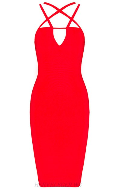 Herve Leger Red Strappy Back Bandage Dress