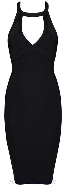 Herve Leger Black Strappy Back Cut Out Dress