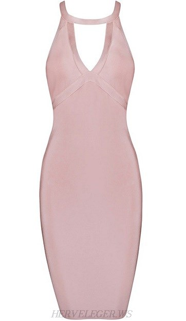 Herve Leger Pink Strappy Back Cut Out Dress