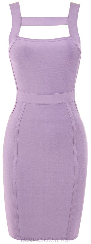 Herve Leger Lilac Strappy Cut Out Dress