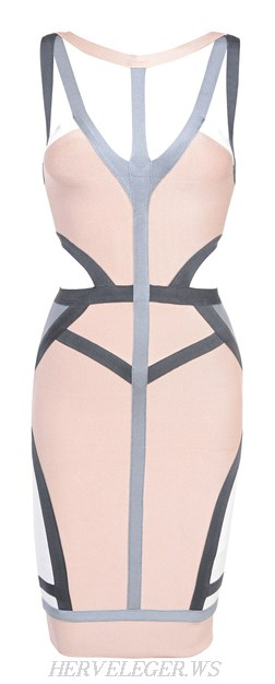 Herve Leger Nude And Grey Strappy Cut Out Dress