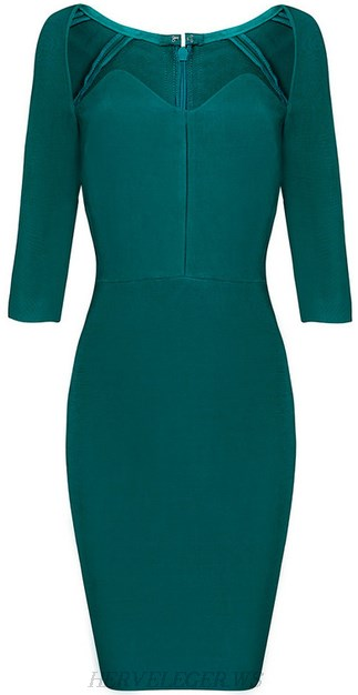 Herve Leger Emerald Green Sweetheart Bandage Dress