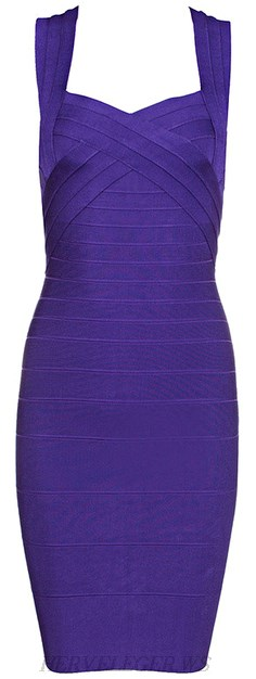 Herve Leger Purple Sweetheart Bandage Dress