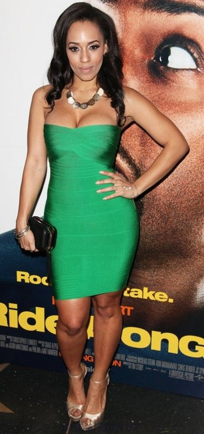 Herve Leger Green Sweetheart Bandeau Bandage Dress