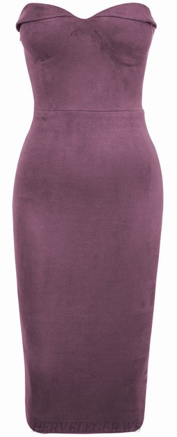 Herve Leger Purple Sweetheart Bandeau Dress