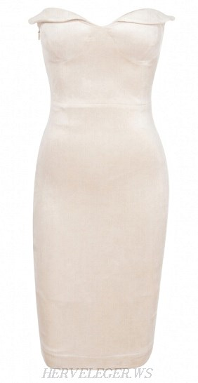 Herve Leger White Sweetheart Bandeau Dress
