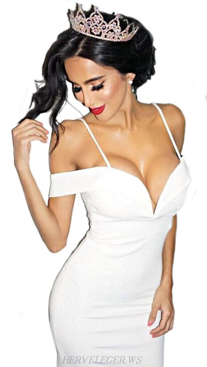 Herve Leger White Strapless Bardot Bandage Dress