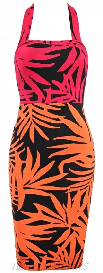 Herve Leger Pink Orange Tropical Print Halter Bandage Dress