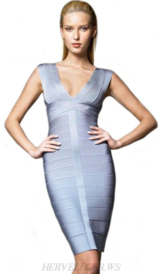 Herve Leger Grey V Neck Bandage Dress