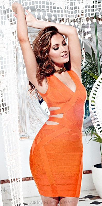 Herve Leger Orange V Neck Cut Out Bandage Dress