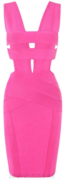 Herve Leger Pink V Neck Cutout Bandage Dress