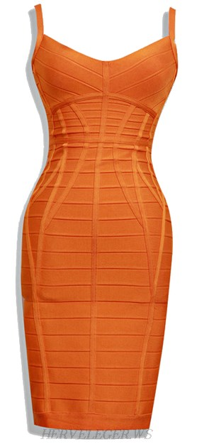 Herve Leger Orange V Neck Spaghetti Strap Bandage Dress