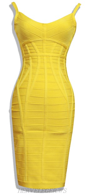 Herve Leger Yellow V Neck Spaghetti Strap Bandage Dress