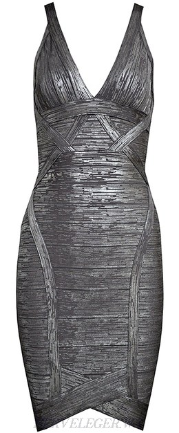 Herve Leger Silver Woodgrain Foil Print Asymmetrical Bandage Dress