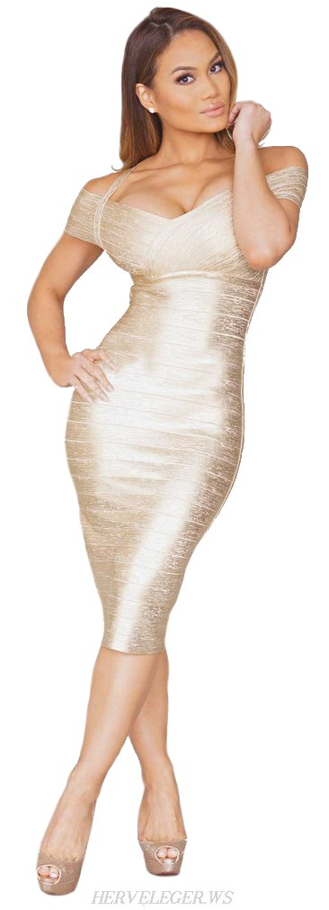 Herve Leger Gold Woodgrain Foil Print Bandage Dress