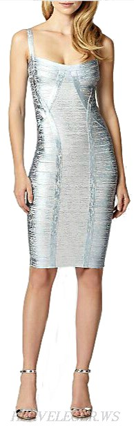 Herve Leger Silver Woodgrain Foil Print Bandage Dress