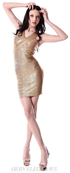 Herve Leger Gold Woodgrain Foil Print Crisscross Bandage Dress