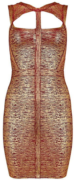 Herve Leger Red Gold Woodgrain Foil Print Cutout Bandage Dress