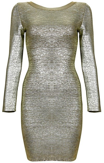 Herve Leger Gold Woodgrain Foil Print Long Sleeve Bandage Dress