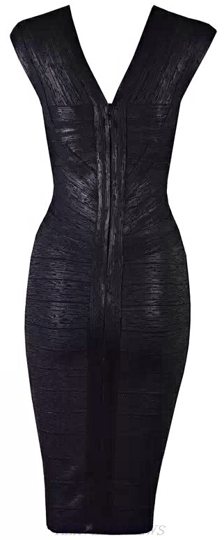 Herve Leger Black Woodgrain Foil Print Bandage Dress