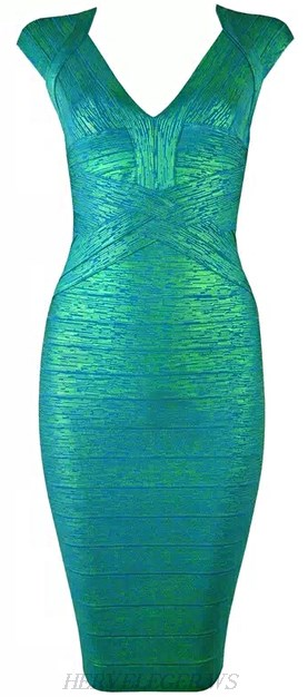Herve Leger Green Woodgrain Foil Print Bandage Dress