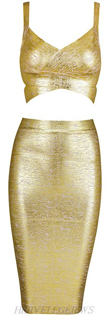 Herve Leger Gold Woodgrain Foil Print Two Piece Dress