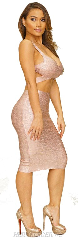 Herve Leger Pink Woodgrain Foil Print Two Piece Bandage Dress