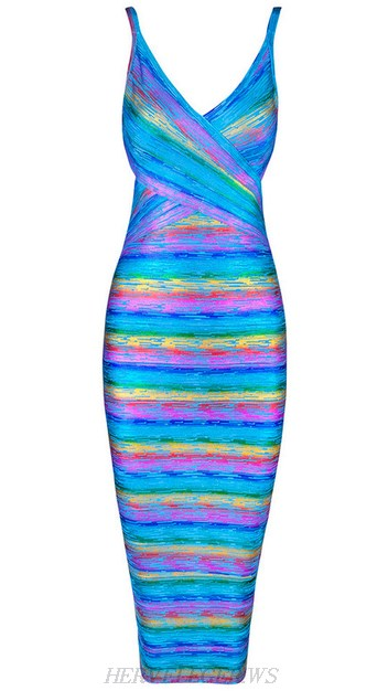 Herve Leger Blue Woodgrain Foil Print Rainbow Dress