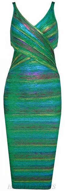 Herve Leger Green Woodgrain Foil Print Rainbow Bandage Dress