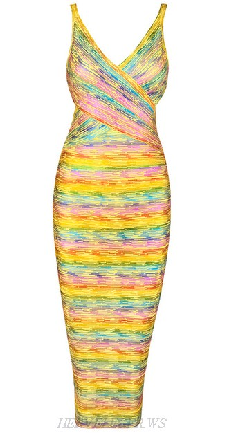 Herve Leger Yellow Woodgrain Foil Print Rainbow Dress