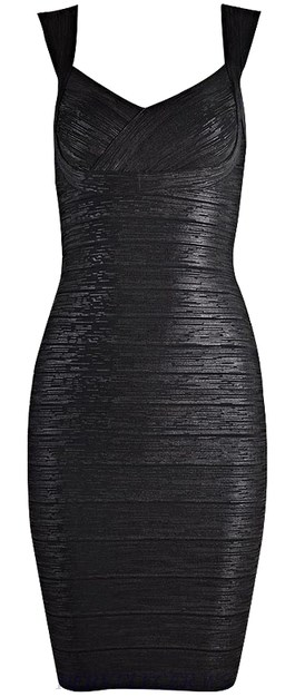 Herve Leger Black Woodgrain Foil Print Signature Bandage Dress
