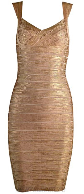 Herve Leger Gold Woodgrain Foil Print Signature Bandage Dress