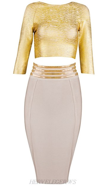 Herve Leger Gold Nude Woodgrain Foil Print Two Piece Bandage Dress