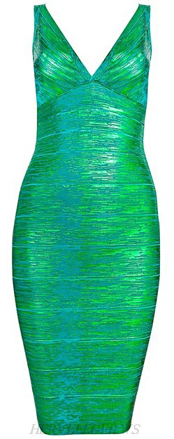 Herve Leger Green Woodgrain Foil Print V Neck Dress