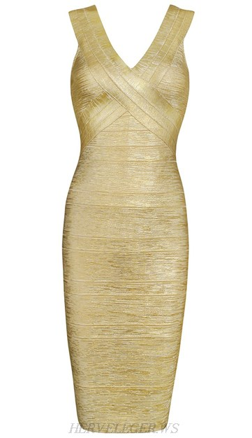Herve Leger Gold Woodgrain Foil Print V Neck Dress