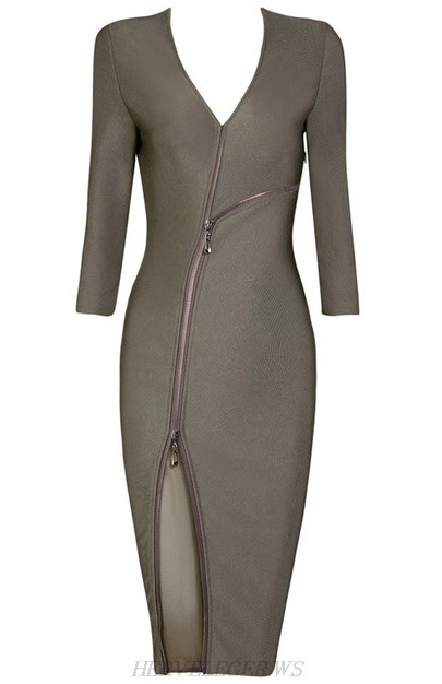 Herve Leger Grey Zipper Embellished Bandage Dress
