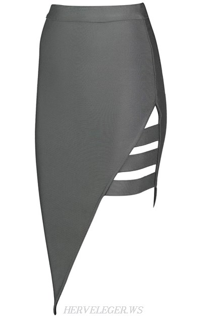 Herve Leger Grey Asymmetrical Cut Out Skirt