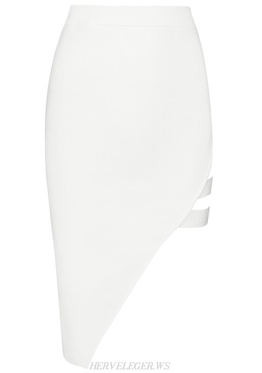 Herve Leger White Asymmetrical Cut Out Skirt